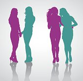 Detailed vector silhouettes of teenage girls holding hands. Silhouettes of teenage girls walking embracing one another