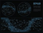 High detailed sky maps vector set with star and constellation names