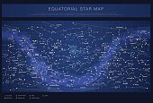 High detailed star map with names of stars, contellations and Messier objects, colored vector