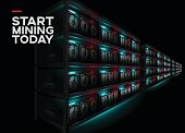 Detailed Vector Illustration of Datacenter in Dark Room. Racks of Glowing Computers in Perspective. Cryptocurrency Mining Farm. Banner for Cryptocurrency Market, Hosting Company.