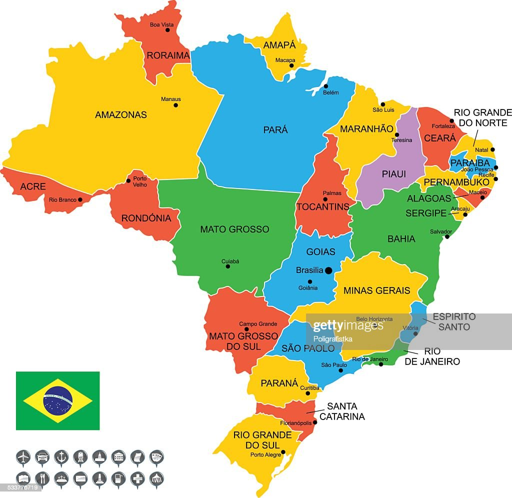 Brazil Infographic Map Vector Art Getty Images - Map of brazil