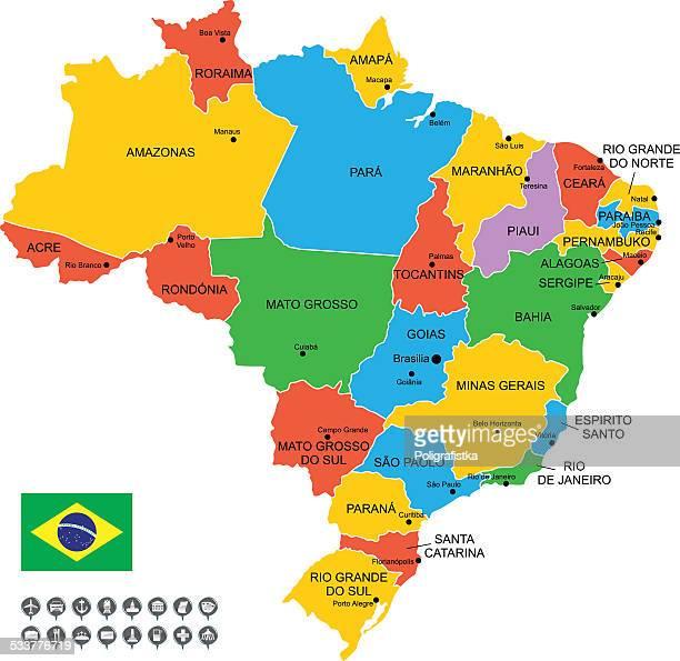 Detaillierte Vektor Karte von Brasilien