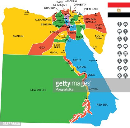 Map Of Egypt Vector Art Getty Images - Map of egypt vector