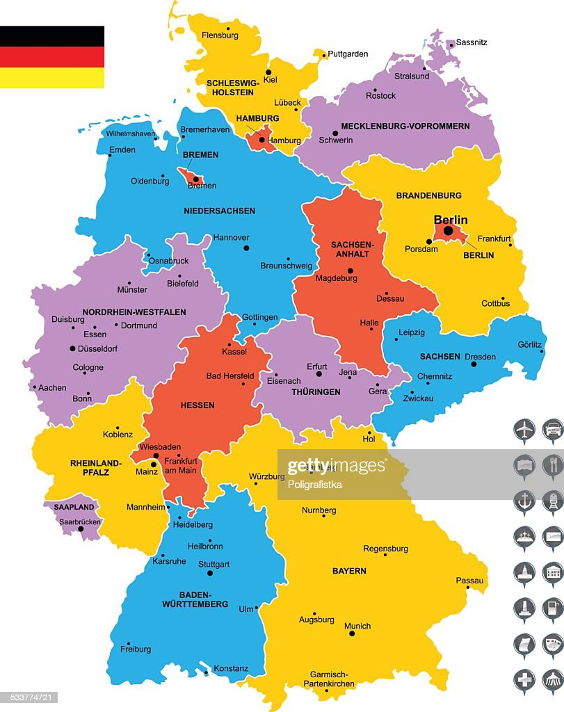 Detailed Vector Map Of Germany Vector Art Getty Images - Germany map detailed