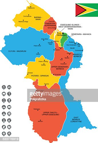 Map Of Guyana Vector Art Getty Images
