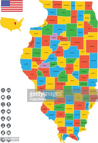 Detailed Vector Map Of Illinois Vector Art  Getty Images