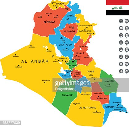 Map Of Iraq Vector Art Getty Images - Map of iraq