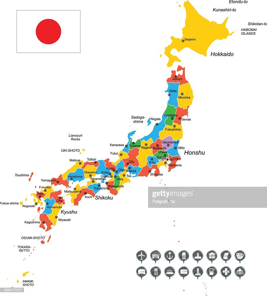 Japan Vector Map Regions Isolated Vector Art Getty Images - Japan map vector art