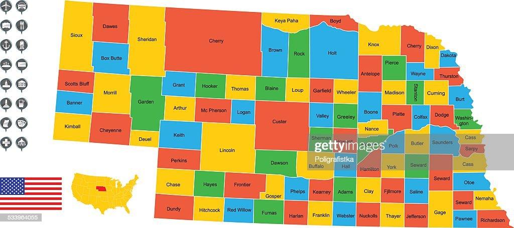 Detailed Vector Map Of Nebraska Vector Art Getty Images - Detailed map of nebraska