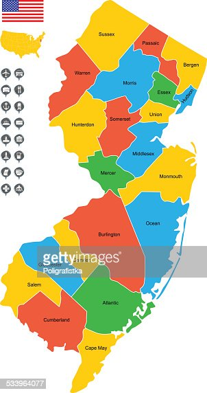 New Jersey County Map Vector Art Getty Images - Detailed map of nj