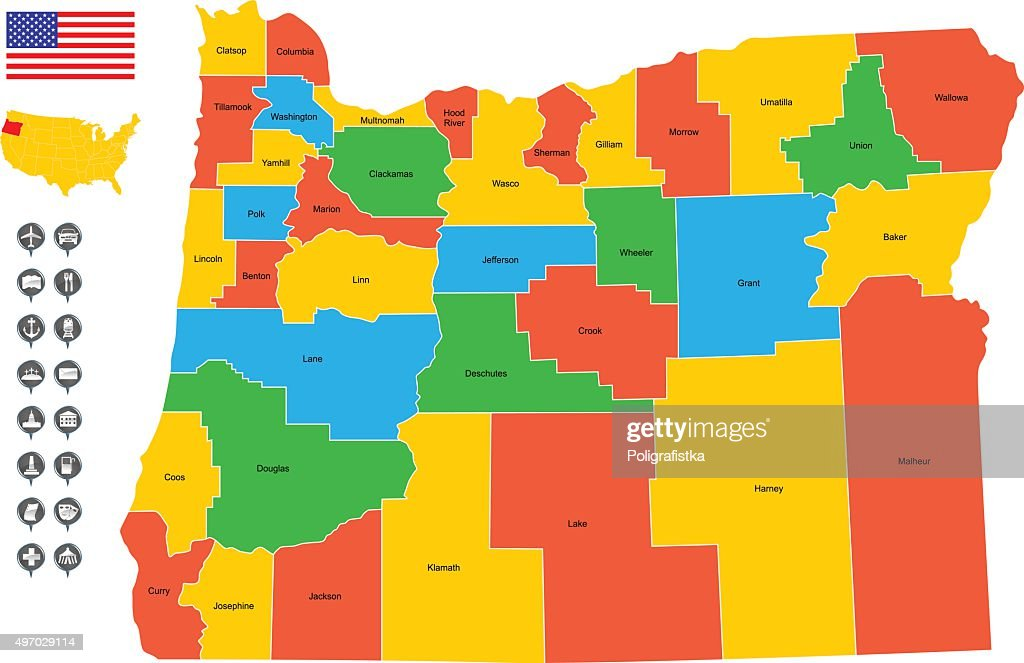 Map Of Oregon Vector Art Getty Images - Mapoforegon