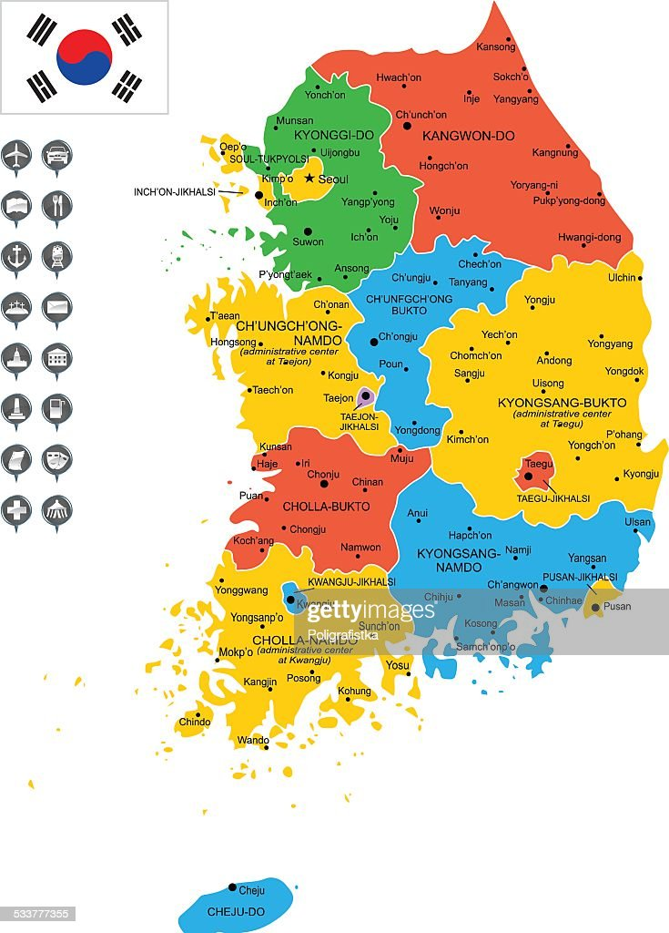 Detailed Vector Map Of South Korea Vector Art Getty Images - South korea map