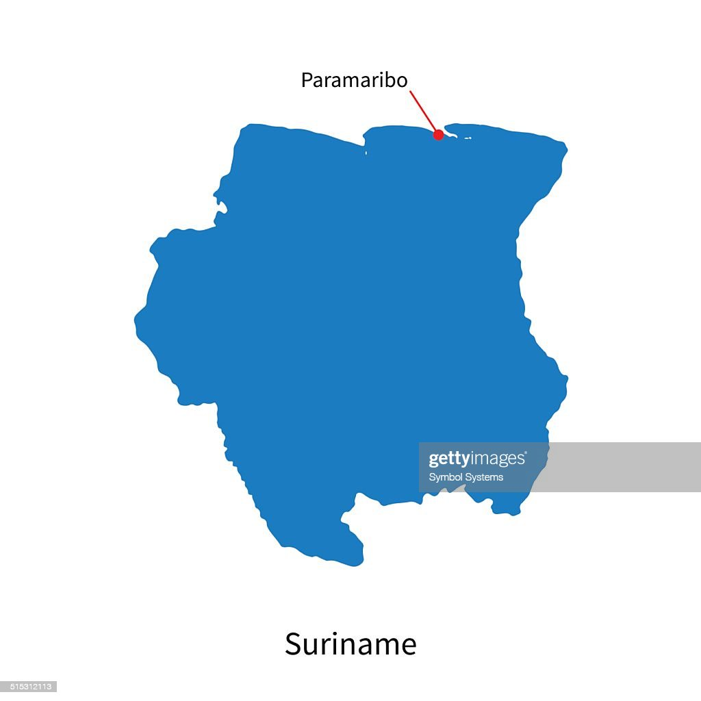 Detailed Vector Map Of Suriname And Capital City Paramaribo Vector - paramaribo map