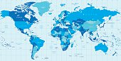 Detailed vector World map in colors of blue. Names, town marks and national borders are in separate layers.