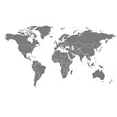 Detailed, high resolution, accurate vector world map with boundaries of States displayed in grey ink on a white background.