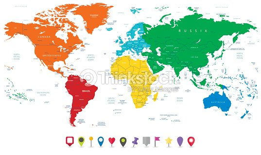 Detailed vector world map with colorful continents and flat map detailed vector world map with colorful continents and flat map vector art gumiabroncs Gallery