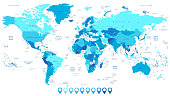 Detailed World Map in colors of blue and map pointers. All elements are separated in editable layers clearly labeled.