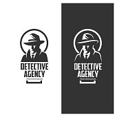 Detective agency emblem with abstract man head in hat. Design elements for labels, icons, badges. Vintage vector illustration.