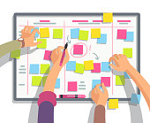 Developers team planning weekly schedule tasks on task board. Teamwork and collaboration vector flat concept. Task scheme whiteboard, taskboard schedule strategy illustration