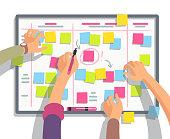 Developers team planning weekly schedule tasks on task board. Teamwork and collaboration vector flat concept. Task scheme whiteboard, taskboard schedule strategy illustration