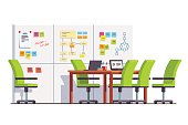 IT development company boardroom interior with SCRUM wall white board, big table, chairs and laptops. Conference meeting room furniture. Business startup. Flat style vector isolated illustration.