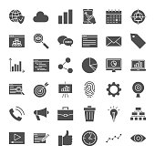 Development Solid Web Icons. Vector Set of Modern SEO Glyphs.