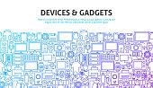 Device Gadgets Concept. Vector Illustration of Line Website Banner Design.