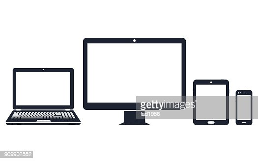 Device icons - desktop computer, laptop, smart phone and tablet : Vector Art