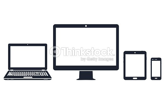 Device icons - desktop computer, laptop, smart phone and tablet : stock vector