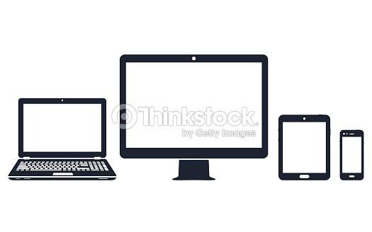Icônes de l'appareil - ordinateur de bureau, ordinateur portable, smartphone et tablette : clipart vectoriel