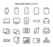 Devices, bold line icons. The illustrations are a vector, editable stroke, 48x48 pixel perfect files. Crafted with precision and eye for quality.