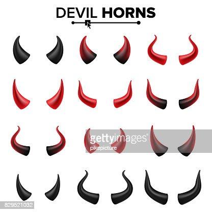 Devil Horns Set Vector. Good For Halloween Party. Satan Horns Symbol Isolated Illustration : stock vector