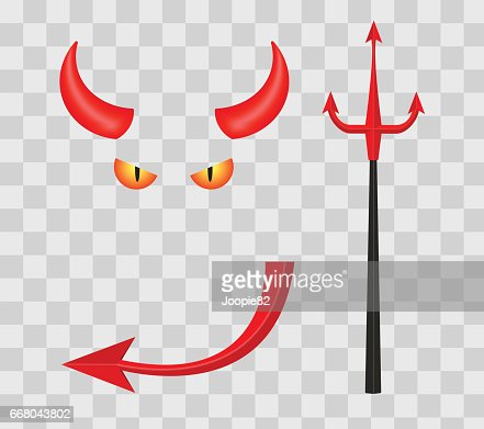 Devil horns, trident, eyes and tail isolated on transparent checkered background. Vector illustration. : stock vector