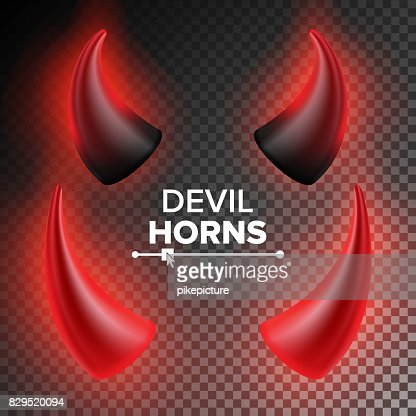 Devils Horns Vector. Red Luminous Horn. Realistic Red And Black Devil Horns Set. Isolated On Transparent Illustration : stock vector