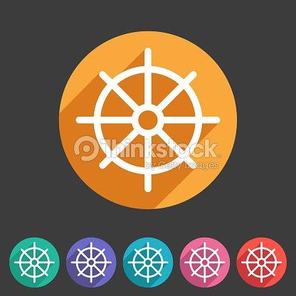 Dharma Rad Dharmachakra Buddhismus Symbol Flach Web Zeichen Symbol