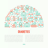 Diabetes concept with thin line icons of symptoms and prevention care. Vector illustration for background of medical survey or report, for banner, web page, print media with place for text.