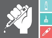 Vector icon of a human hand holding Insulin Injection Pen. Set also includes Insulin Vial, Syringe Needle and injection pen.