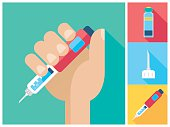 Diabetes flat icon set - Hand holding Insulin Injection Pen. Set with Insulin vial, syringe needle and pen on suare backgrounds.