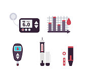 Diabetes icons and infographic element.. Flat style vector illustration isolated on white background.