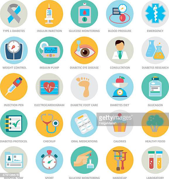 Diabète Mellitus Medical en pleine Circle Icon Set