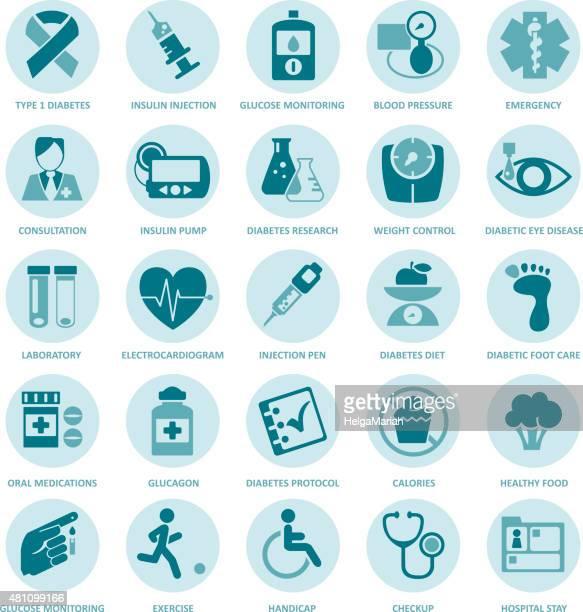 Diabetes Mellitus Medical Duotone Circle Icon Set
