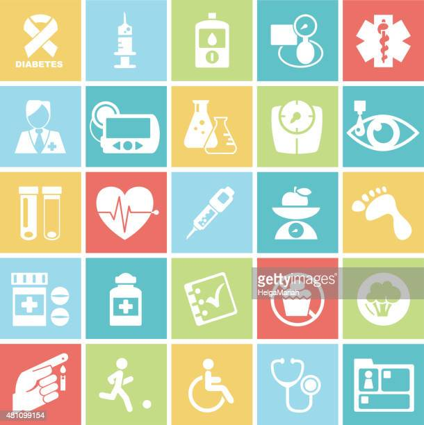 Diabetes Mellitus Medical Icons On Square Badges Set