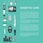 Diabetes concept banner with text place. Flat style vector illustration.
