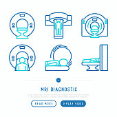 MRI diagnostics thin line icons set. Modern vector illustration of laboratory equipment for web page template.