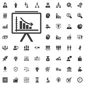 diagram up icon on the white background. Business set of icons