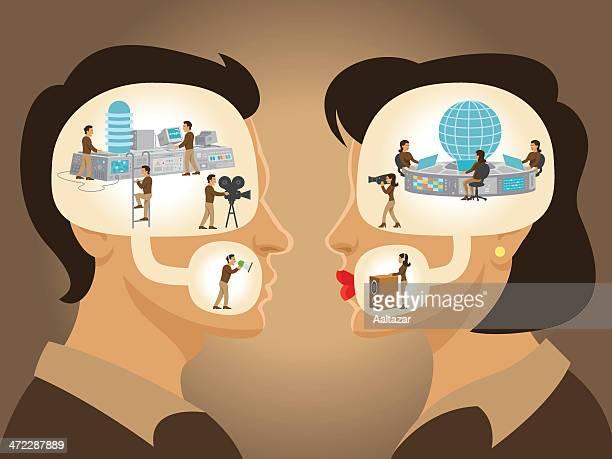Dialog-Mann und Frau