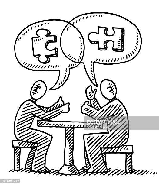 Dialogue Speech Bubble Jigsaw Piece Drawing