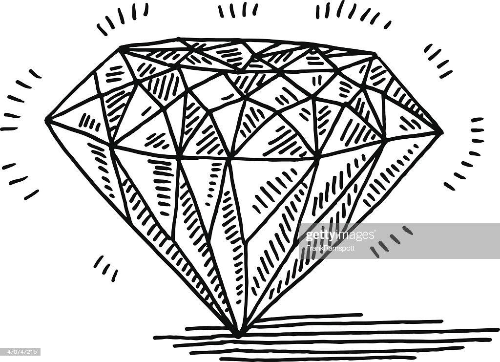 Diamond Gemstone Drawing Vector Art
