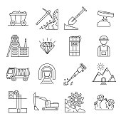 Diamond Mining Signs Black Thin Line Icon Set Include of Mineral, Dump, Truck, Rock and Conveyor. Vector illustration of Icons