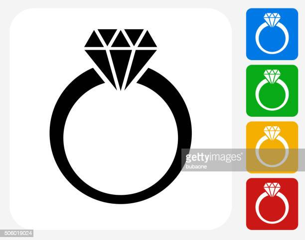 Diamond Ring Icon Flat Graphic Design